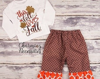 SALE NEW Fall Thanksgiving Outfit, Baby Toddler Girl Clothes, Top Ruffle Pants Set, This Doll Loves Fall, Charming Necessities