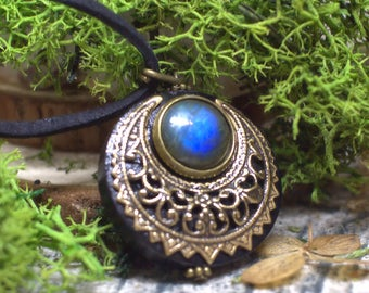 "Moon Amulet Protection Necklace Pendant ""Lleuad"" - Labradorite - Wicca - Wood Brass Gemstone - Pagan Triple Goddess"