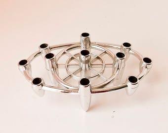 Dansk Candlestick, Silver Candlestick, Unusual Candleholder, Atomic Candle Holder