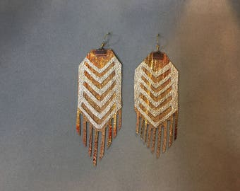 Metallic gold leather statement earrings