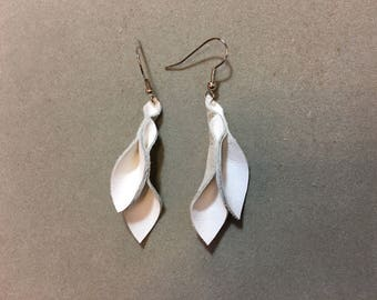 Petal Collection: white leather petal earrings