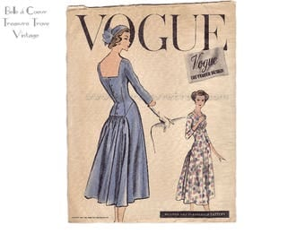 1950s Vogue Couturier Party Cocktail Evening Dress Designer UNCUT Sewing Pattern 967 Bust 34