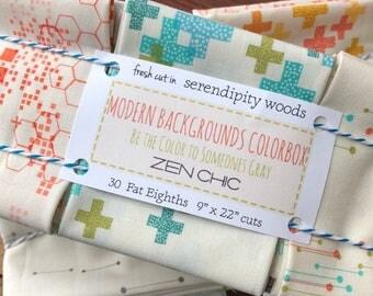 MODA Modern Background BG Colorbox 30 Piece Fat Eighth 8th Bundle by Zen Chic Brigitte Heitland