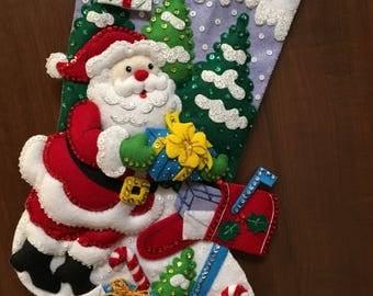 "Bucilla "" Santa's Mailbox"" Felt Christmas Stocking"