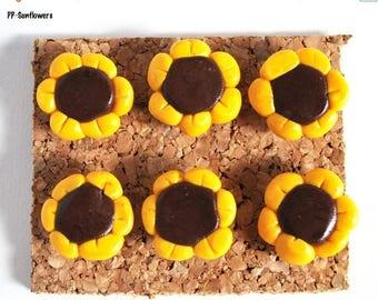 Decorative Pushpins, Home Decor, Office Decor, Thumbtacks, Thumb tacks, Push pins, Pushpins, Sunflower Pushpins, Sunflower Thumbtacks