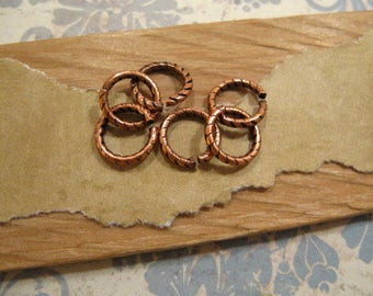 Jumprings-9mm Etched Round in Antique Copper - 6 Count