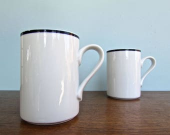 Christianshavn Blue Portugal - Dansk Bistro Pair of Vintage Tall Mugs, Made in Portugal, Danish Modern Classic
