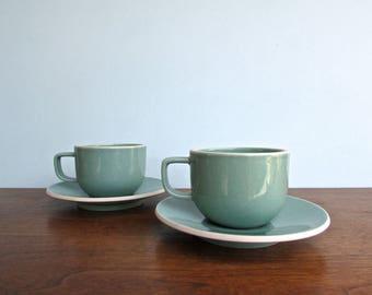 Sasaki Colorstone Vert de Gris, 2 Cups & Saucers by Massimo and Lela Vignelli
