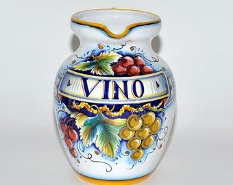 Gialletti Giulio Deruta Pottery Ceramic Wine Vino Large Pitcher