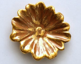 Vintage Stangl Pottery Granada Terracotta 22 kt Gold Flower Dish