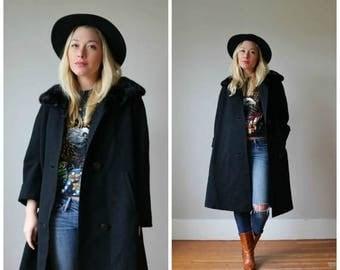 ON SALE 1960s Marzotto Italian Black Coat >>> Size Small to Medium