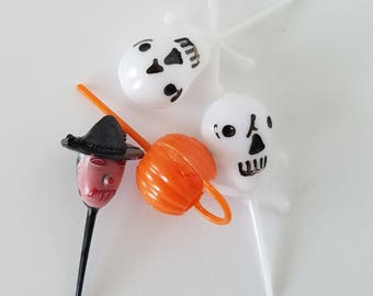 Vintage Halloween Party Picks Set of 4