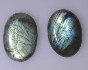 2 Labradorite oval cabochons, very good mostly green gold color flash, 86.22 cts t.w.      043-10-261