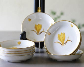 Vintage Butter Pats by Easterling of Bavaria, Yellow Crocus, Easter Table, Spring Entertaining