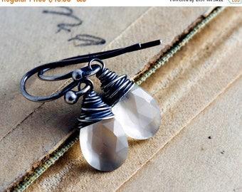 Summer Sale Moonstone Earrings, Moonstone Jewelry, Drop Earrings, Dangle Earrings, White Moonstone, Sterling Silver, Wire Wrapped, PoleStar,