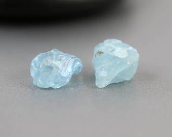 Raw Aquamarine Beads - 8mm - Aquamarine Beads - Nugget Pair