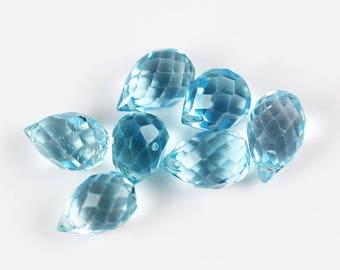 10% OFF SALE Blue Topaz Drop Briolette Beads - 7 Drops - Blue Topaz Beads - 6 to 7mm