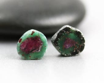 30% OFF SALE Ruby in Zoisite - Slice Pair - Ruby Beads - 9mm