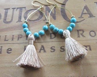 Tan Tassel Hoop Earrings with Turquoise Beads