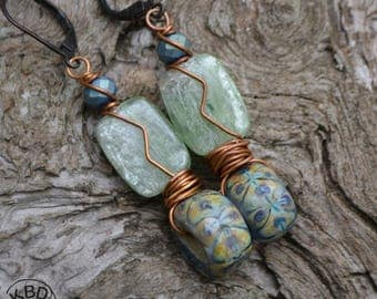 Icy Green Kyanite and Lampwork Glass