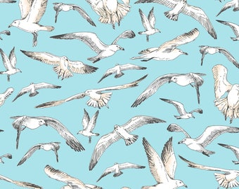 Beach Fabric Cotton Quilting High Tide Seagulls Aqua 42815-1  (1/2 yd) cuts Quilting Sewing Crafting Fabrics Material Quilts