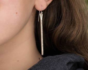 Hammered Bar Earrings- Shiny Long Dangles