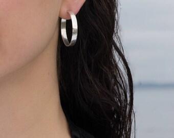 30mm Sterling Silver Wide Hoop Earrings, Matte Texture, Shiny.