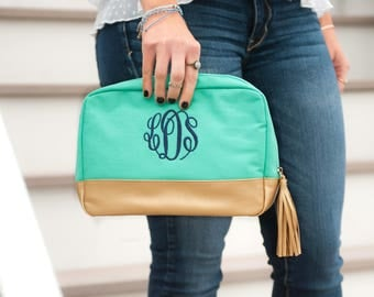 Mint Cabana Cosmetic Bag~Preppy Monogrammed Cosmetic Bag~Travel Pouch~Personalized Make Up Bag~ Accessory Bag