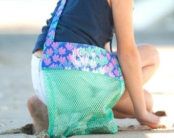 Mesh shell tote~Mesh bag~Mesh beach bag~Personalized Tote~Kids Beach Bag~Mer-Mazing