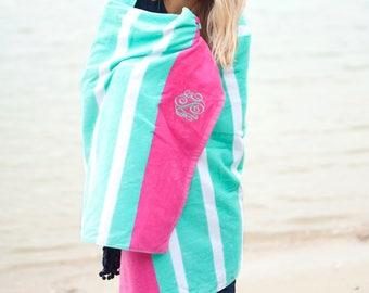 Mint Stripe Oversize Beach Towel-Monogram Towel-Pool-Bath