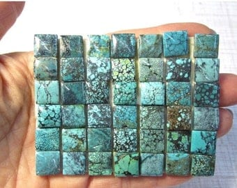 20% OFF SALE Natural Kingman Turquoise Cabochon 10mm Square, QTY2, Morenci Arizona Royston Nevada 9/21g