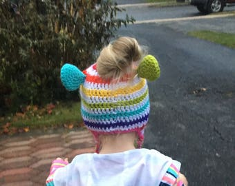 Messy bun-ponytail hat For Preschoolers - Ready to Ship Free in the US