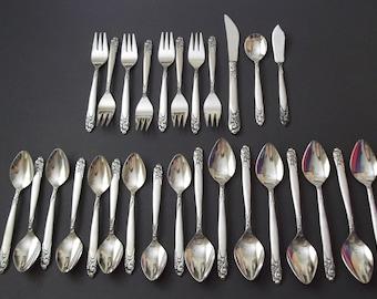 National Stainless, Graceful, 27 Piece Flatware, Salad Forks, Soup Spoons, Teaspoons, Butter Knife, Dinner Knife, Japan 1960s