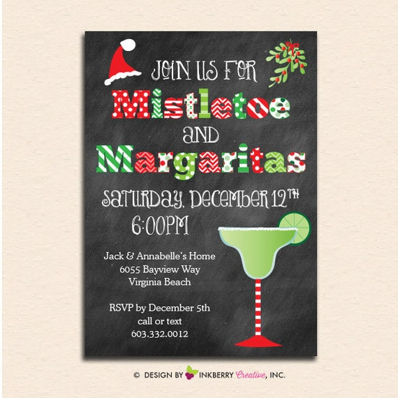 Mistletoe and margaritas chalkboard christmas party invitation il570xn stopboris Image collections