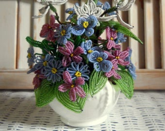 Vintage Coalport England Beaded Flowers in Mini Vase - Violets, Pansies, English Garden Flower Pot, French Country, English Country Cottage