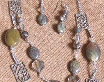 CJNS-0004H Challenge Jasper and Crystal  Necklace and Pierced Earrings