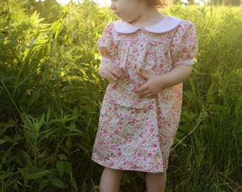 """Girls Classic short sleeve peter pan collar classic DRESS - """"Olivia"""" YOUR CHOICE of Sevenberry florals - size 12m to 7 - Classic Collection"""