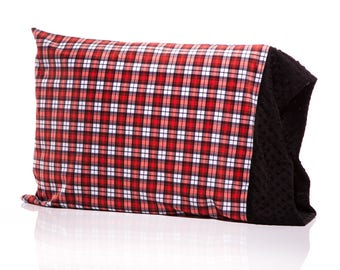 Red Swatch Plaid Pillow Case,Plaid , Swatch Plaid, Minky Pillow, Gender Neutral Bedding, Mimis, Personalize with a free monogram