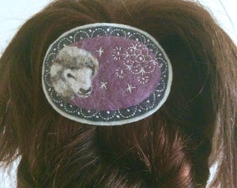 Felted Cameo Sheep Hair Clip Barrette