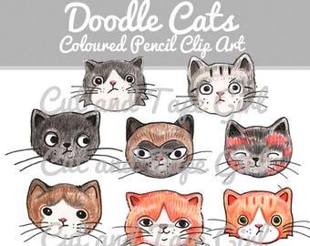 Hand Drawn Coloured Pencil Cat Clip Art - Cat Drawing, Cat Clipart, Pencil Crayon, Craft Supplies, Digital Clip Art, Digital Download