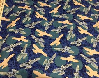 Robert Kaufman Musings Birds 100% COTTON fabric by the yard - Laguna blue background with Birds 17317-327