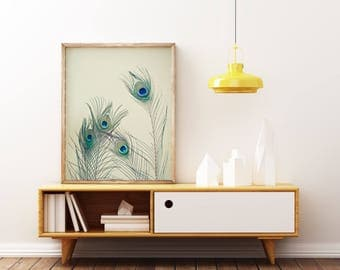 Peacock Wall Art, Feather Print, Peacock Feather Art, Neutral Decor - All Eyes Are on You