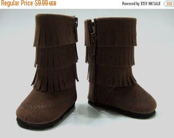 20% off Eclipse Sale Accessories Made to fit American Girl Dolls, Boots Made to fit  AMERICAN GIRL DOLLS, Brown Fringe Faux Suede Boots Fit