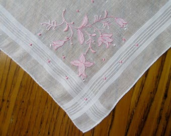 White Handkerchief, Pink Applique Bell Flowers, Burmel? Unused Vintage Hanky, Pink Hanky, Embroidered Hanky, Madeira Linen, Hand Rolled