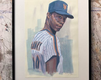 Hand painted portrait of Darryl Strawberry - framed