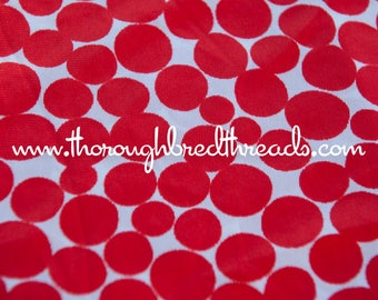 Red Polka Dots- Vintage Fabric Whimsical Novelty New Old Stock 70s Adorable