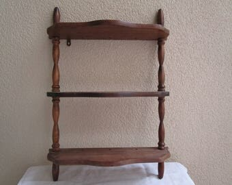 Vintage Wooden Spice Rack, Three Shelves, Wall Hanging Tabs, Storage Rack