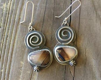 Montana Agate silversmith earrings