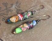 Impression Jasper Earrings Rustic Stick Colorful Gemstone Boho Copper Earrings