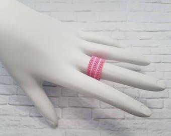 Peyote Ring - Fashion Ring - Beaded Ring - Statement Ring - Striped Ring - Seed Bead Ring - Handmade Ring - Woven Ring - Minimalist Ring